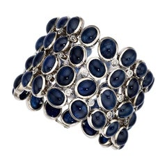 Large Cabochon Blue Sapphire Diamond Gold Bracelet