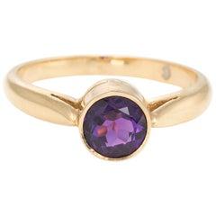 Vintage Amethyst Ring 14 Karat Yellow Gold Round Stacking Band Estate Jewelry