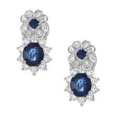 Fine Blue Sapphire Diamond Platinum Earring