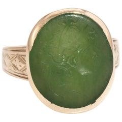 Antique Victorian Intaglio Ring Green Agate 10 Karat Yellow Gold Soldier Warrior