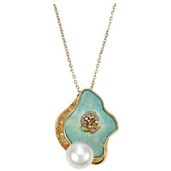 Giulians Contemporary 18k Cygent Bay South Sea Pearl and Sapphire Pendant