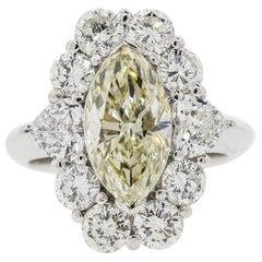 2.62 Carat Light Yellow Marquise Cut Diamond Platinum Ring