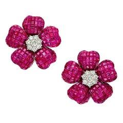 Ruby Diamond Gold Flower Ear-Clip Earrings