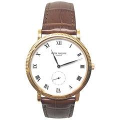 Patek Philippe Calatrava Yellow Gold Brown Strap Watch