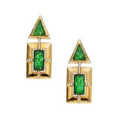 Estate Jadeite Jade Diamond Gold Drop Earrings