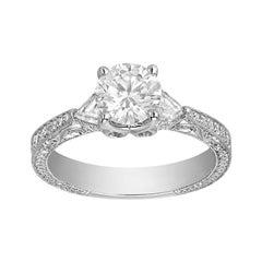 1.07 Carat Round Cut Diamond J-VVS2 Gold Engagement Ring, GIA