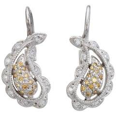 Estate Diamond Bean Earrings Vintage 14 Karat Gold Yellow Drop Fine Jewelry