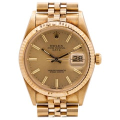 Rolex Oyster Perpetual Date Ref 15037 14 Karat Yellow Gold, circa 1986