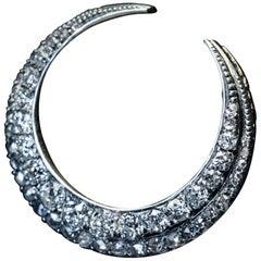 Antique Victorian Crescent Moon Diamond Pendant Brooch