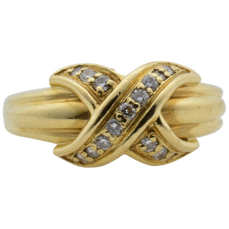 Tiffany & Co Yellow Gold 18 Karat and Diamond Ring 1990 For Sale