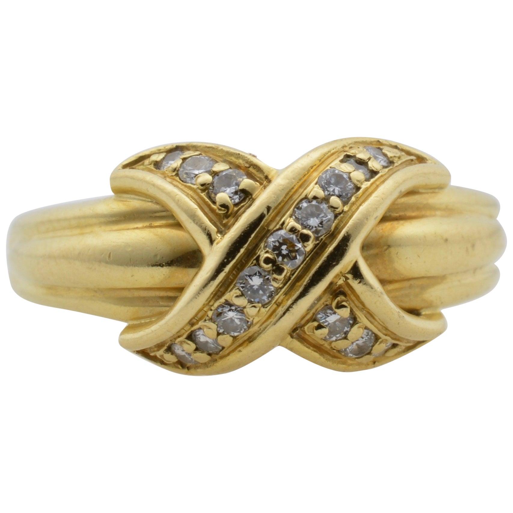 Tiffany & Co Yellow Gold 18 Karat and Diamond Ring 1990