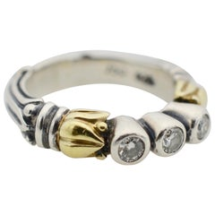 Logos Caviar Three Diamond Ring Set in Mixed Metals of Sterling and Yellow Gold