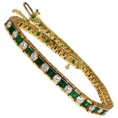 5.42 Carat Green Natural Emerald Diamonds Tennis Bracelet 14 Karat