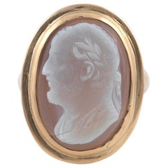 19th Century Gold and Agate Cameo Ring