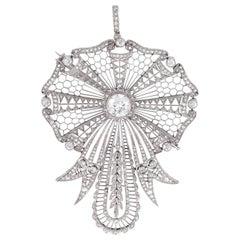 Diamond and Platinum Brooch, Pendant