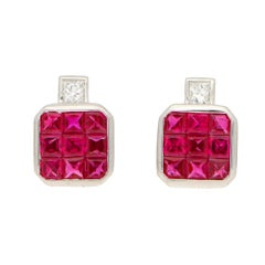 Invisibly-Set Ruby 2.20 Carat and Diamond 0.16 Carat Stud Earrings in White Gold
