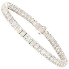 16.27 Carat Emerald-Cut Diamond Line Bracelet in Platinum