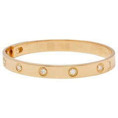 Cartier 18 Karat Rose Gold Six Diamond Love Bangle