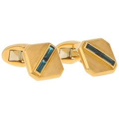 Vintage Piaget Sapphire Cufflinks in 18 Karat Yellow Gold