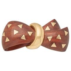 Van Cleef & Arpels 18 Karat Yellow Gold and Wooden Vintage Bow Brooch