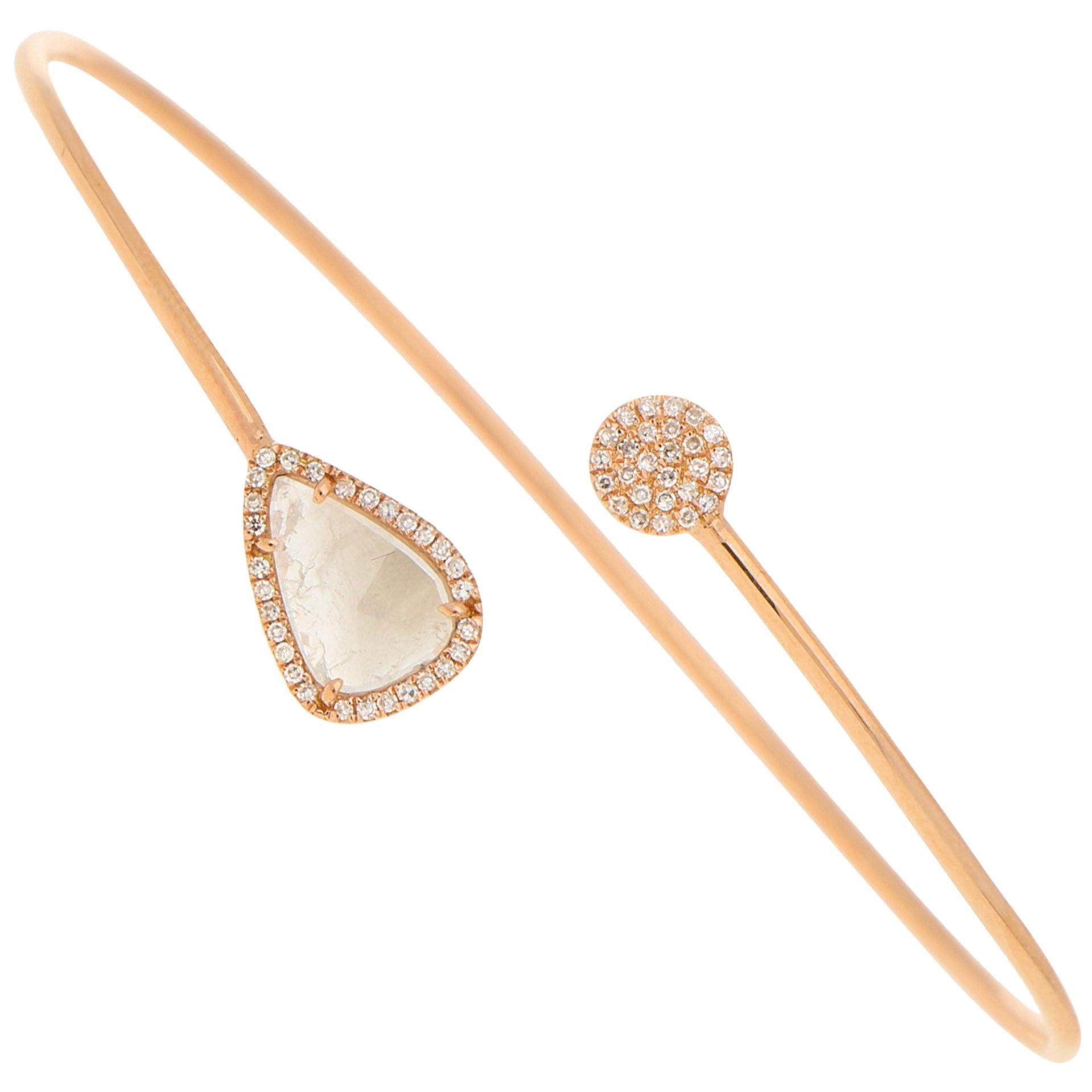 Rose-Cut Diamond Cuff Bracelet in 14 Karat Rose Gold 0.50ct