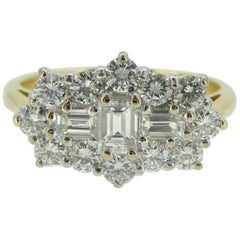 1.0 Carat Diamond Cluster Ring, Baguette and Brilliant Cut, Boat Shape Style