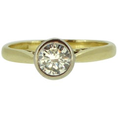 Modern Art Deco Style 0.50 Carat Diamond Solitaire Engagement Ring