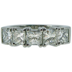 Modern 1.81 Carat Diamond Five-Stone Ring, Princess Cut Diamonds, Platinum Band