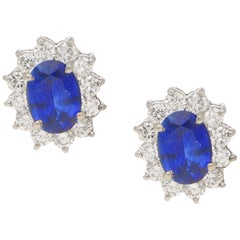 Sapphire  3.78ct Diamond 0.79ct Cluster Stud Earrings/Pendants 14kt White Gold