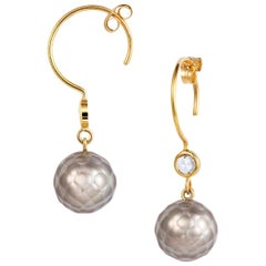 Sweet Pea 18k Yellow Gold Hoop Earrings with Grey Faceted Pearls and Diamonds