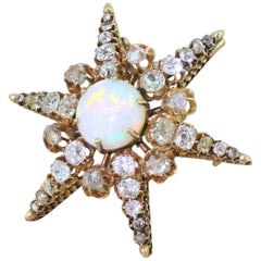 Victorian Opal, Old Cut Diamond and Rose Cut Diamond Star Brooch