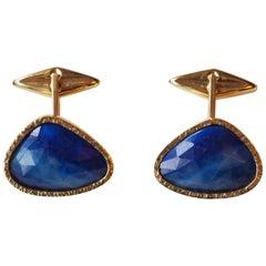 18 Karat Gold Cufflinks Blue Sapphire