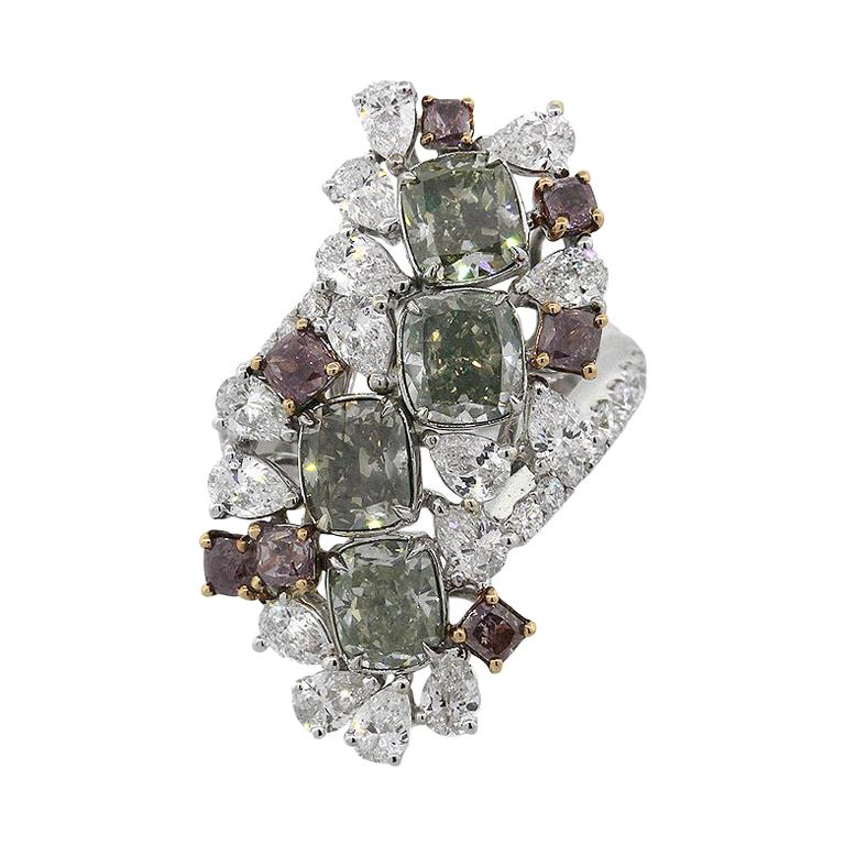 GIA Certified Cushion Cut Diamond Cocktail Ring For Sale