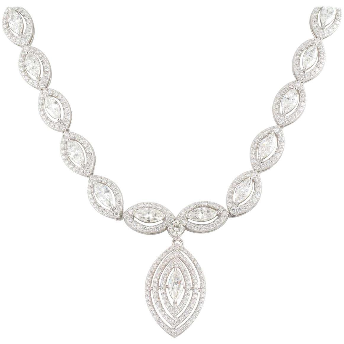 White Gold Marquise Cut Diamond Drop Necklace 14.37 Carat