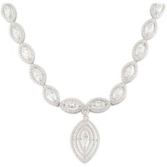 White Gold Marquise Cut Diamond Drop Necklace 14.37 Carat