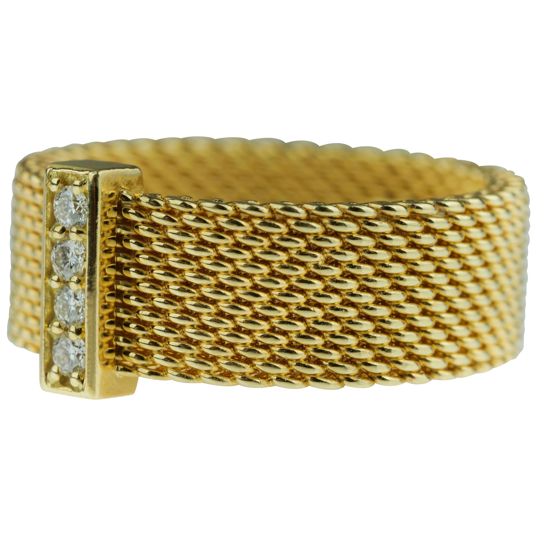 Tiffany & Co. Somerset 18k yellow gold & diamond mesh, weave, braided ring
