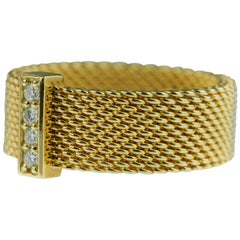 Tiffany & Co. Somerset 18k yellow gold & diamond mesh, weave, braided ring