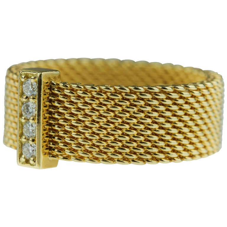 49c0cd59c Tiffany & Co. Somerset 18 Carat Gold Mesh Round Brilliant Diamond Wide Band  Ring For