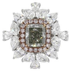 1.21 Carat GIA Certified Fancy Color Diamond Halo Engagement Ring