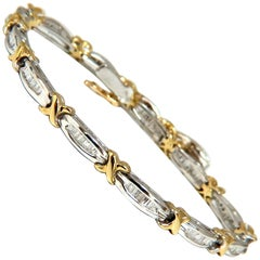 .85 Carat Baguette X Diamonds Bracelet Two-Toned 14 Karat