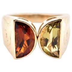 14 Karat Yellow Gold Topaz and Citrine Ring