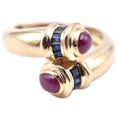 14 Karat Yellow Gold Ruby and Sapphire Ring