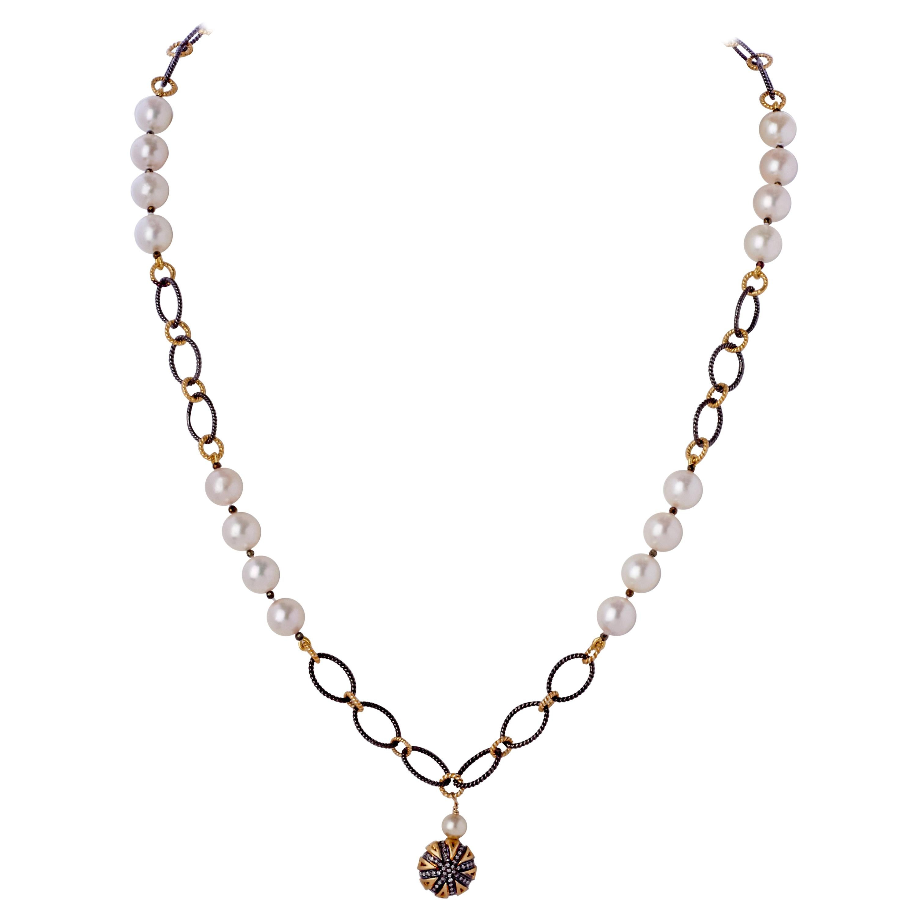 Diamond Sterling Puff Charm Pendant Necklace w Pearl & Silver Chain