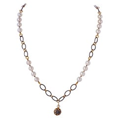 Vermeil & Diamond Charm Pendant Necklace, Akoya Pearls and Sterling Silver Chain