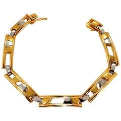 Men's Kinetic Sliding Geometric Pattern Bracelet 14 Karat