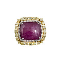 Set in 18K Gold, 34.82 Natural Mozambique Ruby and Yellow Diamonds Cocktail Ring