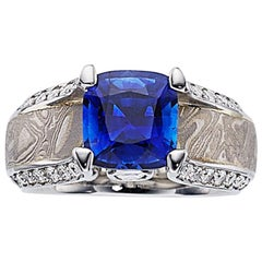 Kirkawa Blue Sapphire Diamond Platinum Gold Silver Ring