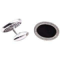 18 Karat White Gold Diamond and Onyx Cufflinks