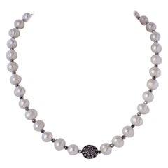 Sterling Silver & Diamond Puff Charm Necklace w Natural White Ringed Pearls