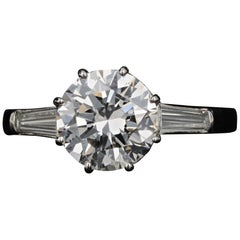 Retro Platinum 1.52 Carat Diamond Engagement Ring, circa 1950s
